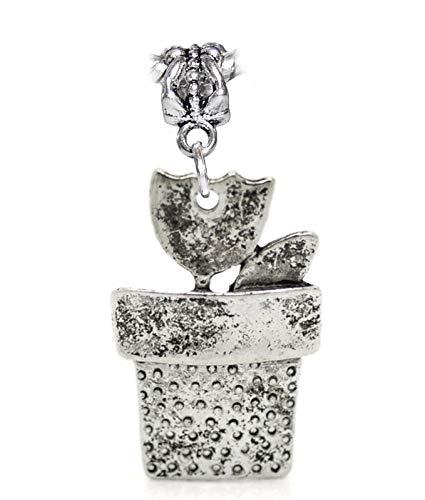 Oversized Tulip Flower Pot Flowerpot Plant Dangle Charm for European Bracelets Jewelry Making Supply by Wholesale ()