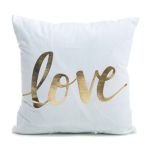 "Kingla Home Square Cushion Cover For Couch Gold Printed ""LOVE"" Throw Pillow Cover 18x18 Inch(45cmx45cm) Decorative Pillow Case For Valentine's Day (Gold Pillow)"