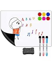 """Magnetic Dry Erase White Board Sheet for Kitchen Fridge 12""""x8"""" Stain Resistant Technology – Refrigerator Whiteboard Organizer and Planner Include Eraser, 3 Markers &6 Fridge Magnets (White)"""