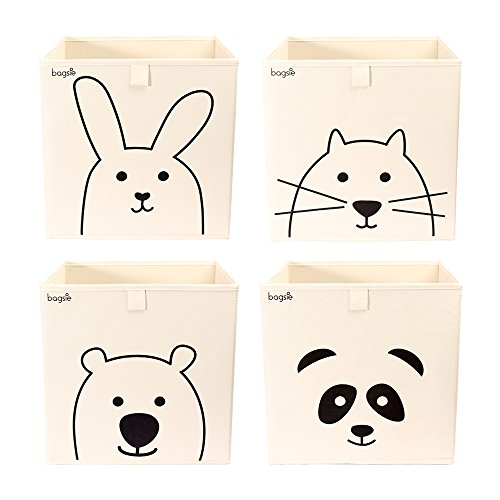 Storage Bins Box Basket 13 inch Toy Organizer (4 Cubes/Bear Rabbit Cat Panda) by bagsie