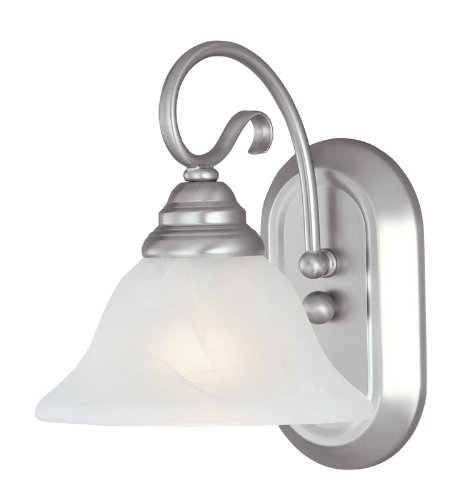Livex Lighting 6101-91 Coronado 1 Light Brushed Nickel Wall Sconce with White Alabaster Glass ()