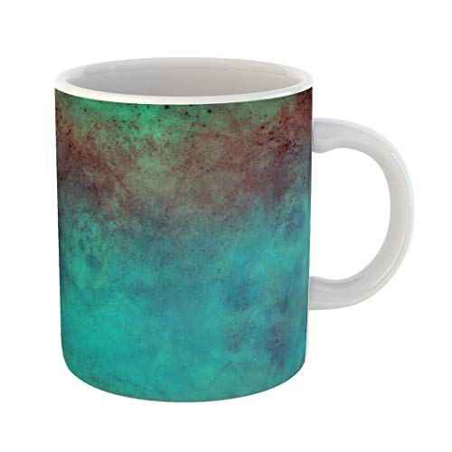 (Emvency Funny Coffee Mug Brown Old Blue with Red and Green Grunge and Stains and Distressed Vintage Design 11 Oz Ceramic Coffee Mug Tea Cup Best Gift Or Souvenir)