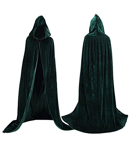 "Velvet Cloak Cape Wizard Hooded Party Halloween Cosplay Costumes for Men Women 53"" (Dark Green)"