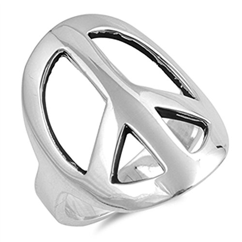 Large Wide Peace Sign Symbol Hippie Ring New 925 Sterling Silver Band Size 6