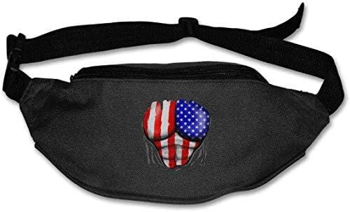 アメリカ国旗筋肉ユニセックス屋外ファニーパックバッグベルトバッグスポーツウエストパック