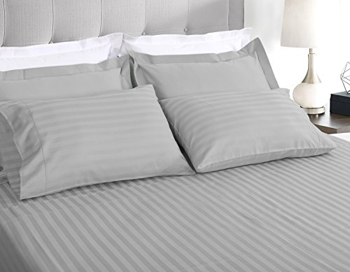 500 Thread Count 100% Extra-Long Staple Cotton Sheet Set, Queen Sheets, Damask Stripe Hemstitch Luxury Bedding, Queen Sheets 4 Piece Set ,Smooth Sateen Weave, Silver, by Threadmill Home Linen