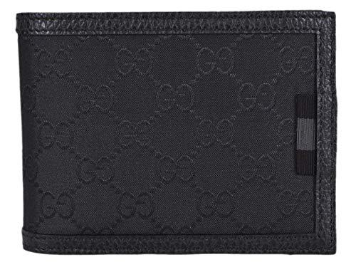 Gucci Men's Nylon GG Guccissima Web Bifold Wallet W/Removable ID (333042/Black)