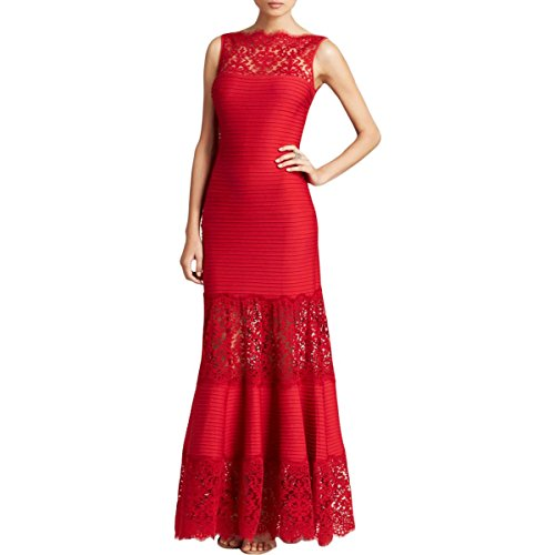 Tadashi Shoji Womens Lace Pintuck Evening Dress Red S