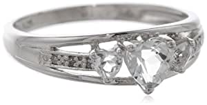 Three Heart Shape .018 Diamonds CTTW in Silver White Topaz Ring, Size 8