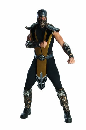 Mortal Kombat Scorpion Adult Costume, Gold, One Size - Wizard Guard Adult Costumes