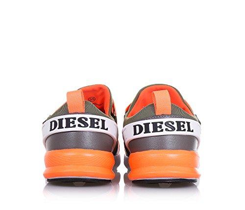 DIESEL - Chaussure vert militaire et orange phosphorescent en tissu, pièces en cuir et caoutchouc, garçon, garçons