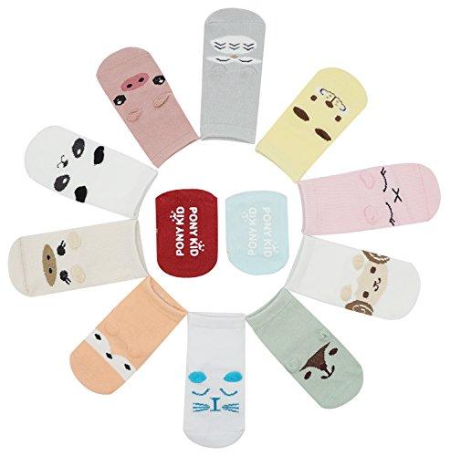Bienvenu 12 Pack Toddlers Kids Non-Skid Animal Theme Anti Slip Crew Socks