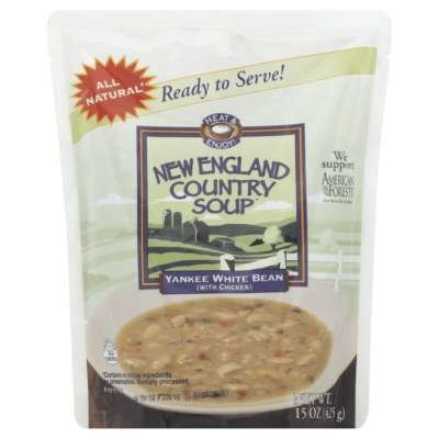 Yankee White Bean Soup from New England Country Soup™, 15-Ounce Microwavable, Ready-to-Serve Pouch (Pack of 6)
