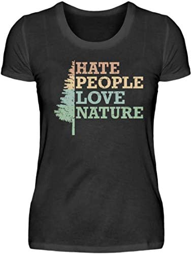 HOLZBRÜDER® Hate People Love Nature damski drewniany T-shirt idealny do pracy z piłą łańcuchową w lesie: Odzież