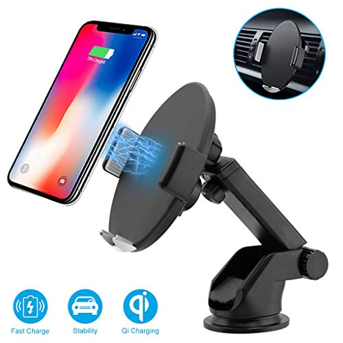 (Solovley Wireless Car Charger, 360 Degree Infrared Intelligent Charge Phone Holder, Adjustable Air Vent, Windshield Car Mount for iPhone/Samsung Galaxy/Huawei/All Phones That Support Qi (Black))