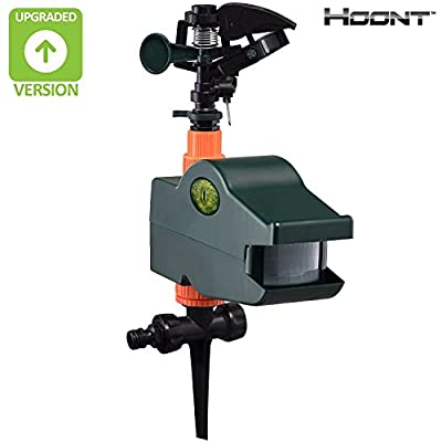 Hoont Powerful Outdoor Water Jet Blaster Animal Pest Repeller – Motion Activated Sprinkler Pest Control Repellent - Blasts Cats, Dogs, Squirrels, Birds, Deer, Etc. Out of Your Property [UPGRADED]