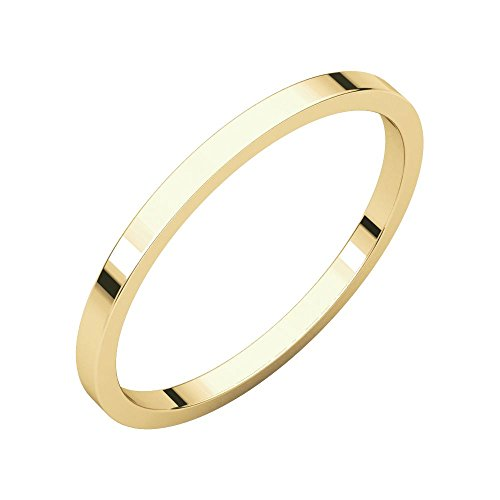 (Jewels By Lux 14K Yellow Gold 1.5mm Flat Bridal Wedding Ring Band Size 4.5)