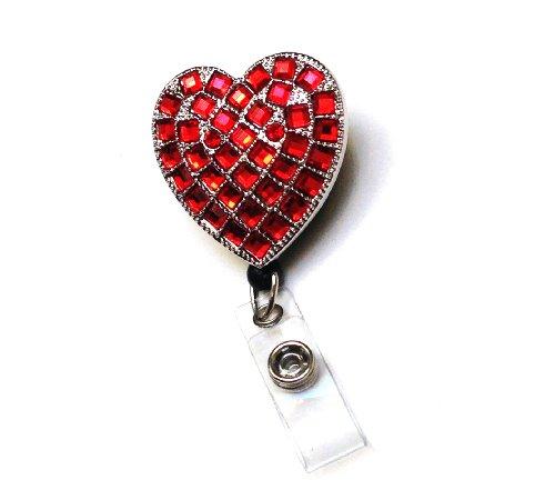 (Sparkles! Sparkly Rhinestone Heart Retractable Badge Reel/ ID Badge Holder / Brooch / Pendant / Id Badge Holder)