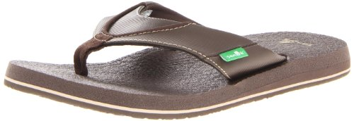 Sanuk Men's Beer Cozy Flip Flop, Brown, 11 M US by Sanuk