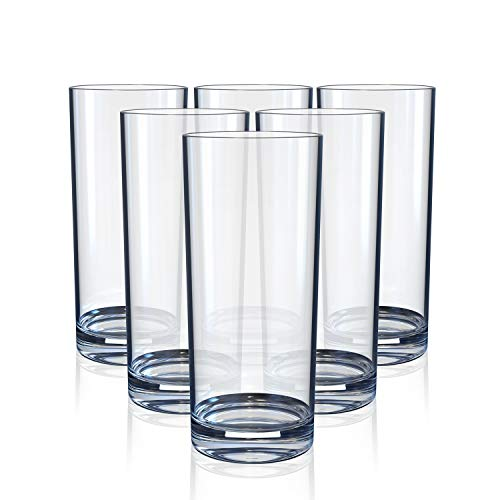 Highball Drinking Glasses, Clear Heavy Base Tall Bar Glass – Drinking Glasses for Water, Juice, Beer, Wine, Whiskey, and…