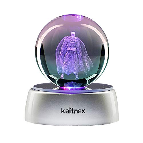3D Laser Etched Crystal Ball(50mm) Puzzle with LED Base (Batman)