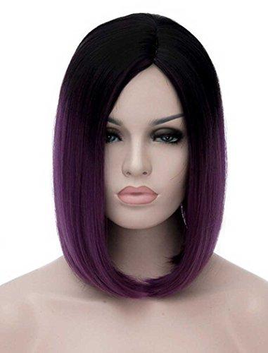 Tsnomore Chic Shoulder Length Ombre Bob Women Wig (Black to Dark Purple) (Black Wig Raven)