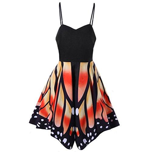 Les Femmes Creazy Sans Manches Bretelles D'asymétrie D'impression Papillon Robe Orange