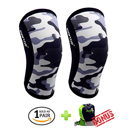 01d8806c8e Knee Sleeves (1 Pair) 7 mm Neoprene Best Knee Supports Pain Compression  Brace Cap for Squats, Crossfit WODS Weightlifting Powerlifting Strong Knee  Pads for ...