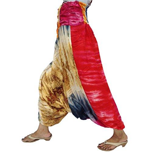 Frente Reunidos Volver Smocked Cintura Cadena ajustable Harem Tie Dye Rayón Pantalón