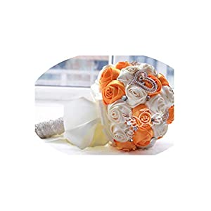 9 Colors Gorgeous Wedding Flowers Bridal Bouquets Artificial Wedding Bouquet Crystal Sparkle with Pearls,Orange 86