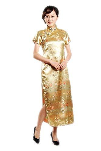 JTC Femme dragon et Phénix Qipao Robe de Soirée Longue Cheongsam Brocade-or