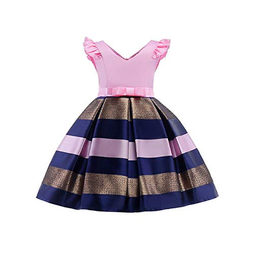 four- Baby Girls Princess Striped Dress Girls Party Dresses Princess Kids Christmas Wedding Suits -