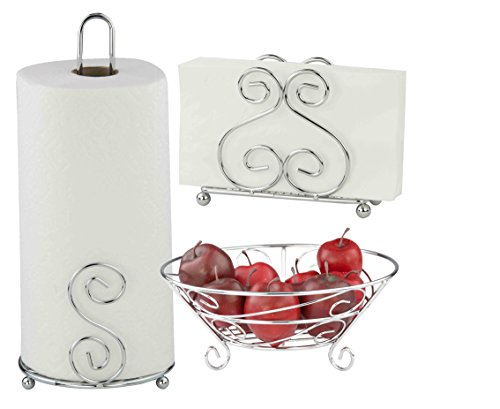 Deluxe Scroll Collection 3pc Kitchen Table Décor Set, Napkin Holder, Paper Towel Stand, Fruit Bowl - Chrome (Paper Towel Stand Set)