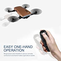 Noiposi RC Drone Quadcopter JJR/C H47 Elfie Foldable Selfie Pocket Drone Gravity Sensor Mode One hand Remote Control Mini Quadcopter with 2.0MP 720 HD Camera (Brown) from Noiposi