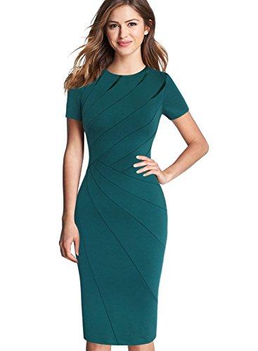 VfEmage Womens Elegant Patchwork Wear to Work Party Slim Bodycon Dress 8501 GRN 18 from VfEmage