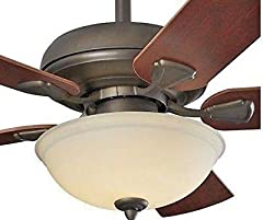 52-in indoor listed casual design with neutral light finish 5 hand painted blades, ideal for open porches 12° blade pitch for increased airflow, 5509 CFM's on High Speed Multiple mounting options- down rod and angled up to 20° and close mount...