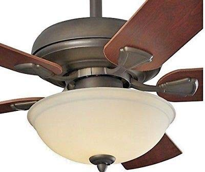 - Energy Efficient 52 Inch LED Ceiling Fan with Nutmeg Espresso Blades and White Glass Light Bowl