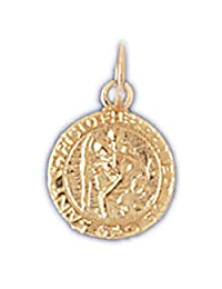 14K Yellow Gold Saint Christopher Pendant Necklace - 15 mm