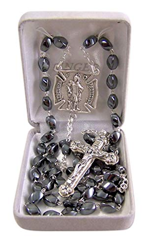 Silver Toned Saint Michael Patron Saint of Police Officers Hematite Prayer Bead Rosary, 16 1/4 Inch