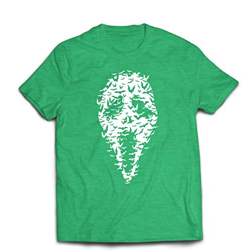 lepni.me Men's T-Shirt Ghost Scary Face Bats, Halloween Party Costume (Medium Heather Green Multi Color)