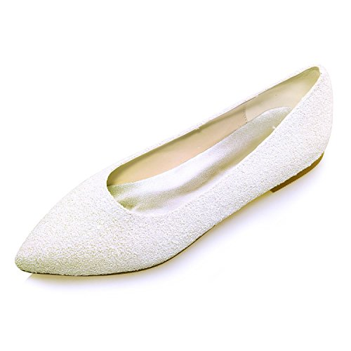 Mujer Novia Flower Ivory Planas Ladies 07A Tamaño 2046 Zapatos Glitter Bombas Ager Ballet Para De 4qwxYHqa7