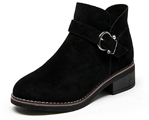 Boots Black suede Leather JiYe Women's Wedge Ankle Shoes YzAARwqX