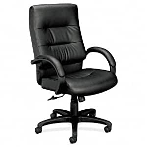 Basyx VL690 Series Executive High-Back Leather Chair, Black Leather, EA - BSXVL691SP11