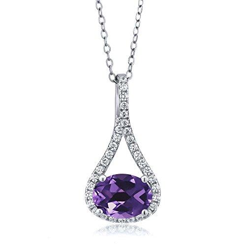 - Gem Stone King 1.44 Ct Oval Purple Amethyst 925 Sterling Silver Pendant