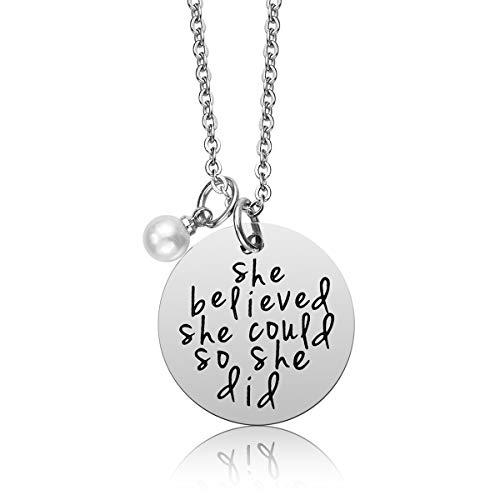 iJuqi She Believed She Could So She Did Stainless Steel Pendant Necklace Inspirational Jewelry Gifts for Women Teen Girls, 18''