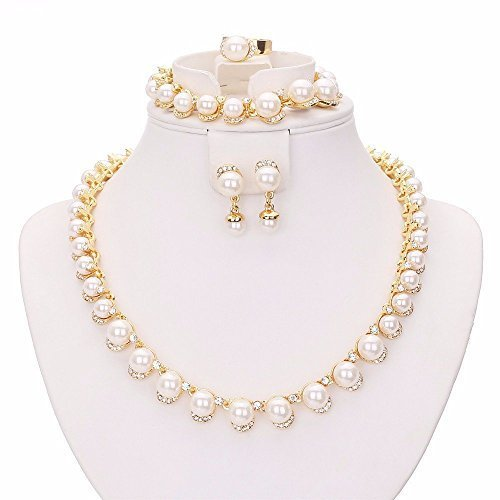 (MOOCHI 18K Gold Plated White Man-Made Pearls Chain Jewelry Set)