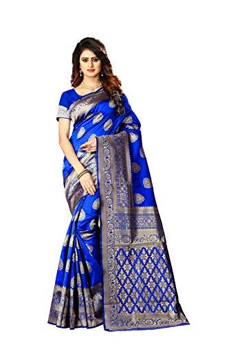 Women's Banarasi Silk Saree Indian Wedding Ethnic Sari & Unstitch Blouse Piece PARI 21 (Royal Blue)