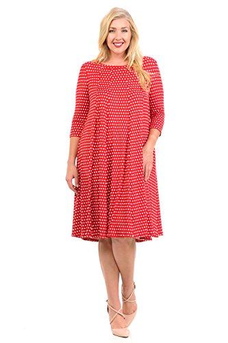 Pastel by Vivienne Women's A-Line Trapeze Midi Dress Plus Size X-Large Polka Dot - Polka In Dot Dress Womens