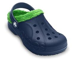 Crocs Infants/Toddlers Baya Fleece Clog,Navy/Lime Green,US 6-7 M