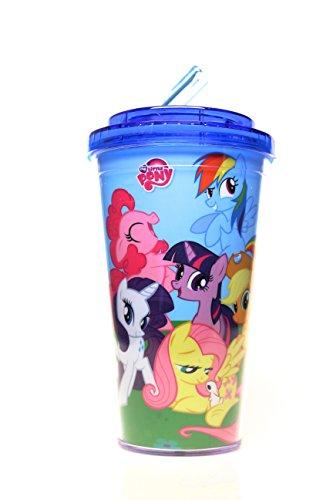 Silver Buffalo MLP2184 My Little Pony Hasbro Friendship is Magic BPA-Free Plastic Flip Straw Cold Cup, 16 oz., Blue